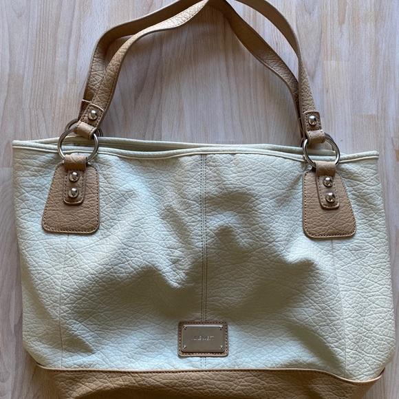 white and beige nine west bag